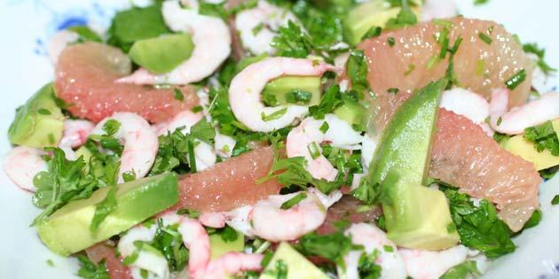Salat Med Rejer Avocado Og Grapefrugt