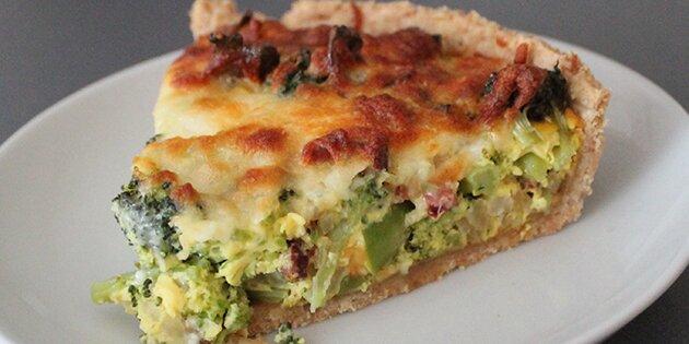 broccolitærte med kylling