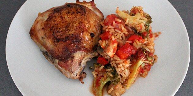 kylling i fad med grøntsager