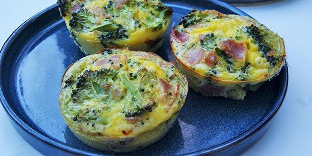 æggemuffins Med Broccoli Og Skinke