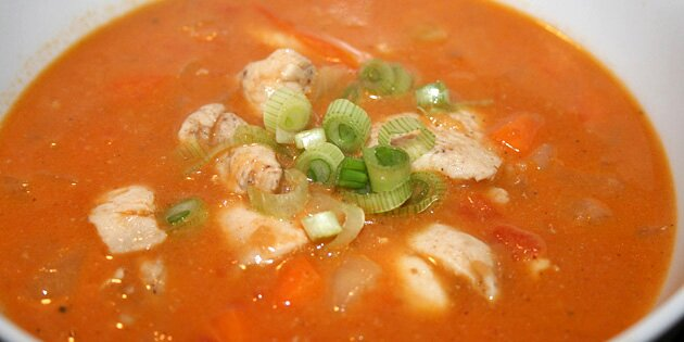 sund grøntsagssuppe med kylling
