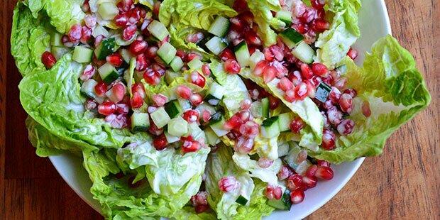 Grøn Salat Med Granatæble Og Mormordressing